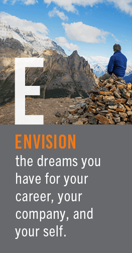 Envision - The dreams you have for your career, your organization, and yourself.